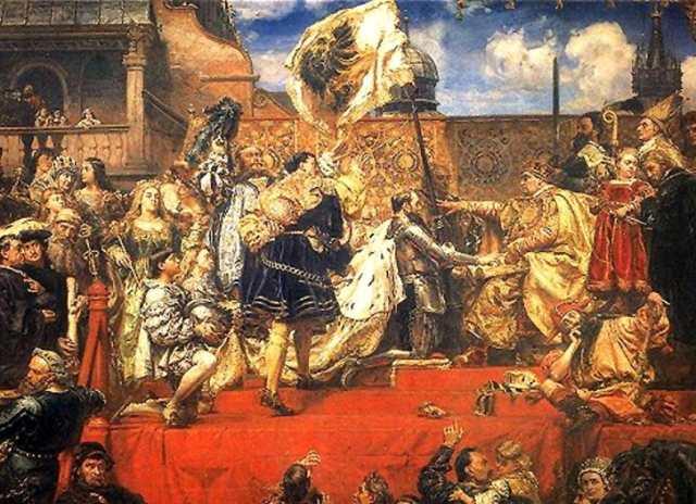 Jan Matejko: Hold pruski. Fragment. fot. www.pinakoteka.zascianek.pl/Wikimedia Commons