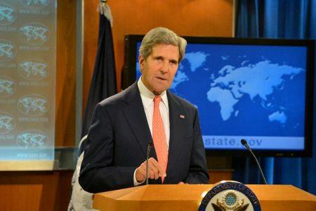 John Kerry podczas przemówienia na temat Syrii (fot. Flickr/U.S. Department of State)