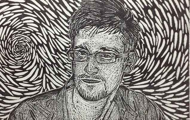 Edward Snowden. Litografia (autor: LocoWiki, praca własna [CC-BY-3.0 via Wikimedia Commons)