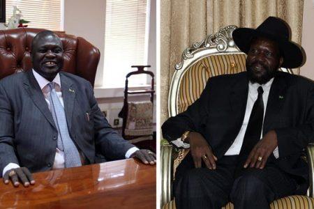 Po lewej Riek Machar (fot. Hannah McNeish / VOA), po prawej Salva Kiir (fot. Kjetil Elsebutangen / Utenriksdepartementet)