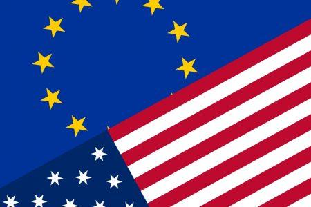 Unia Europejska USA flagi