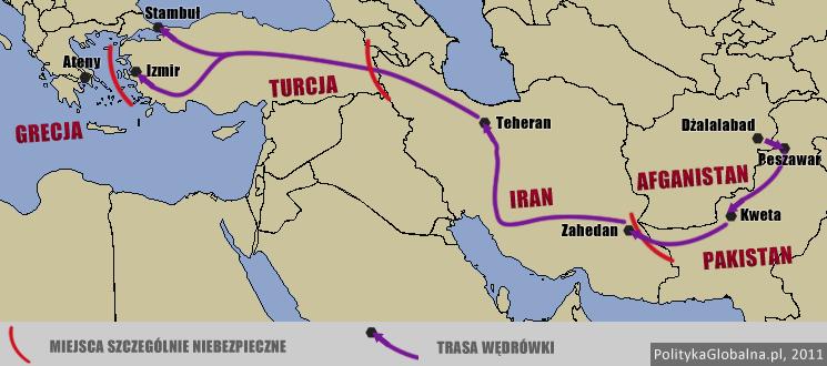 Droga uchodźców z Afganistanu do Europy wiedzie przez Pakistan, Iran i Turcję (Grafika: politykaglobalna.pl)