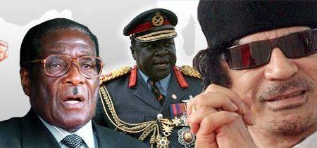 Afryka nie ma szczęścia do demokratów. Na zdjęciu słynni autorytarni władcy Zimbabwe (R. Mugabe, L), Ugandy (Idi Amin, Ś) i Libii (M. Kaddafi). (Źródło: politykaglobalna.pl, na podstawie: Wikimedia Commons)