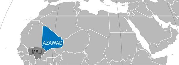 Azawad i Mali na mapie Afryki (politykaglobalna.pl/wikimedia)