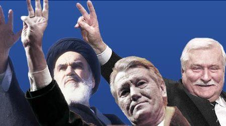 Chomeini, Juszczenko, Wałęsa - symbole trzech rewolucji: irańskiej - islamskiej (1979), ukraińskiej - pomarańczowej (2005) i polskiej - Solidarności (1980)