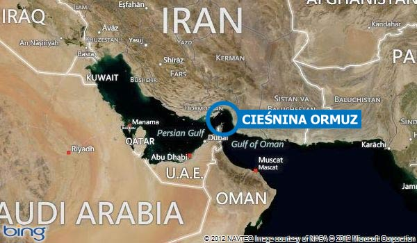 Ciesnina Ormuz (Polityka Globalna, na podstawie Map Binga)