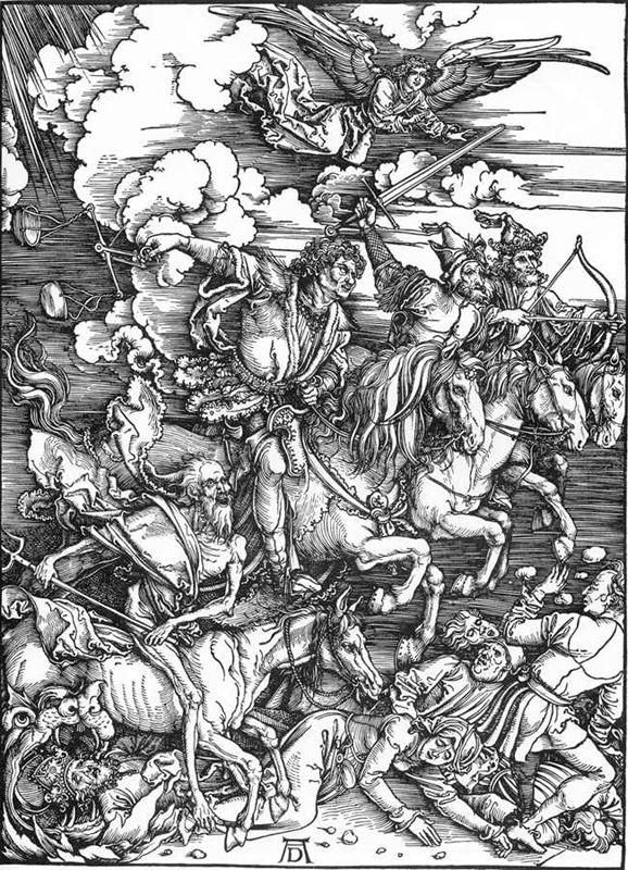 Czterej jeźdcy apokalipsy: Wojna, Zaraza, Głód i Śmierć. Drzeworyt Albrechta Dürera z końca XV wieku (Źródło: Wikipedia)