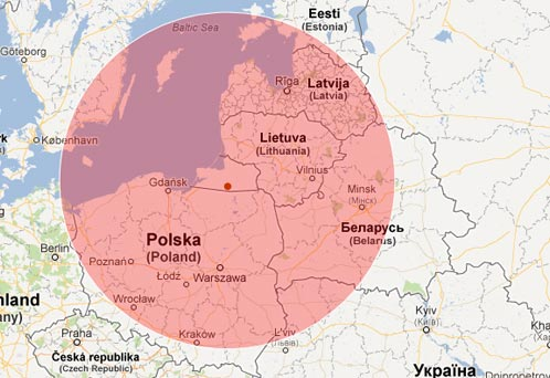Zasięg Iskanderów z Obwodu Kaliningradzkiego (na podstawie: Google Maps)