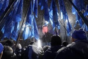 Wiktor Janukowycz na wiecu (Daylife.com/AP Photo/Sergei Grits)