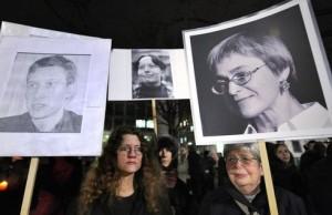 """21 stycznia 2009, demonstracja """"Reporterów bez granic"""" (MICHAEL KAPPELER/AFP/Getty Images"""