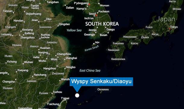 Położenie wysp Senkaku (Bing Maps)