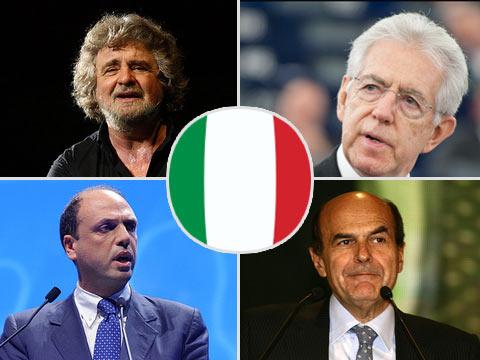 Włochy - wybory parlamentarne 2013, kandydaci: Beppe Grillo, Mario Monti, Angelino Alfano, Pier Luigi Bersani (fot. politykaglobalna.pl)